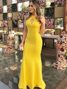 Charming Sheath Halter Backless Yellow Long Prom Dresses, Elegant Evening Dresses PD0914009