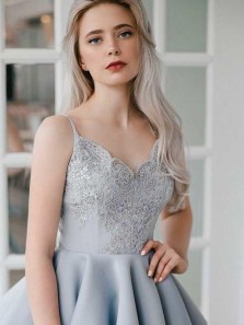 A Line V Neck Backless Satin Beaded Grey Short Homecoming Dresses with Appliques, Short Prom Dresses HD0730005