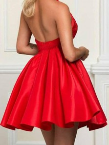 Cute A Line Round Neck Open Back Satin Red Short Homecoming Dresses with Lace