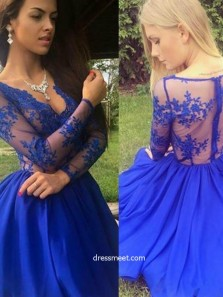 Sexy A Line V-Neck Royal Blue Lace Short Prom Dresses, Long Sleeve Homecoming Dresses HC0056