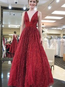Sparkly Ball Gown V Neck Open Back Burgundy Sequins Long Prom Dresses, Unique Evening Dresses PD0110003
