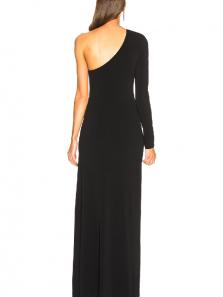 Sheath One Shoulder Black Elastic Satin Evening Dress, Split Black Party Dresss