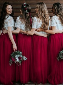 Bohemian A Line Two Piece Short Sleeves Lace Bridesmaid Dresses