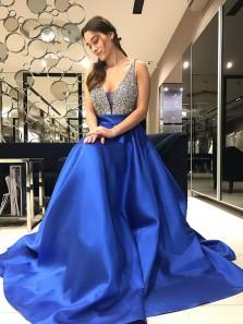 Gorgeous A Line V Neck Royal Blue Long Prom Dress with Beaded, Formal Elegant Evening Dresses HC003