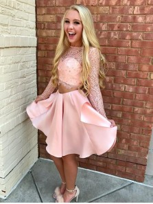Two Piece Long Sleeves Pink Short Homecoming Dress