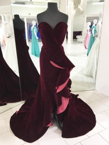 Sexy Sweetheart Burgundy Mermaid Velvet Long Prom Dress with Side Slit