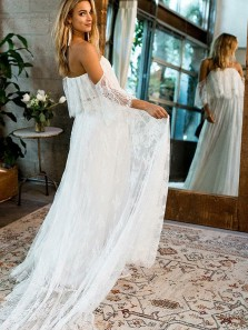 A Line Off the Shoulder White Lace Long Wedding Dresses with Petals Neck WD0726001