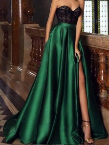 A-Line Sweetheart Green and Black Lace Long Prom Dresses,Evening Party Dresses
