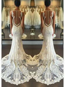 Elegant Mermaid Strap V Neck Beach Wedding Dress ,Luxurious Open Back Ivory Lace Wedding Dress Custom Hand Made WD0617001