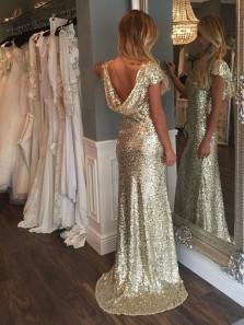Elegant Mermaid Crew Neck Cap Sleeves Champagne Sequins Prom Dress, Open Back Evening Dresses